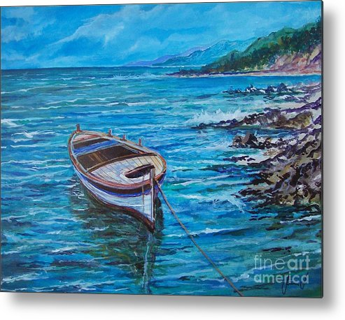 Beach And Waves Metal Print featuring the painting Boat by Sinisa Saratlic