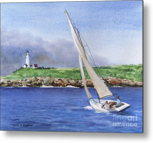 Seascape Metal Print featuring the painting Boston Light by Karol Wyckoff