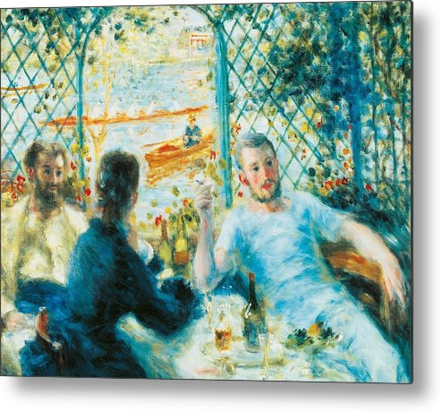 Art Metal Print featuring the painting Breakfast By The River by Pierre-Auguste Renoir