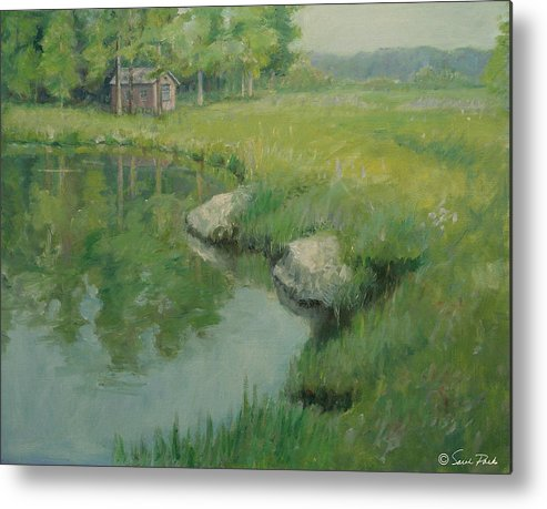 Landscape Metal Print featuring the painting Cabin By The Pond by Sarah Parks