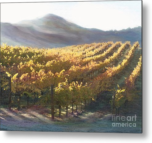 Corde Valle San Martin Ca Metal Print featuring the painting California Vineyard Series Vineyard In The Mist by Artist and Photographer Laura Wrede