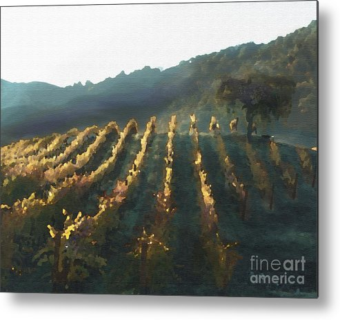 Corde Valle San Martin Ca Metal Print featuring the painting California Vineyard Series Wine Country by Artist and Photographer Laura Wrede