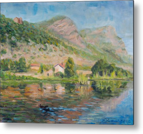 Water Reflection Landscape Italy Pond Dunk Impression Sun Sunny Metal Print featuring the painting Capodifiume by Marco Busoni