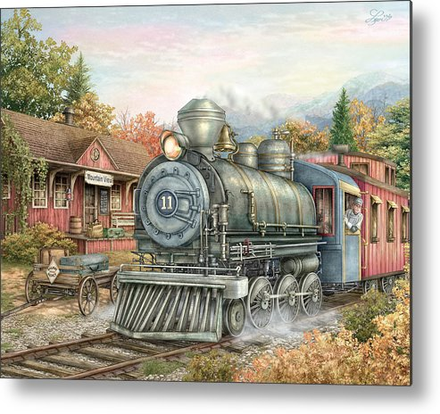 Train Metal Print featuring the painting Carolina Morning Train by Beverly Levi-Parker
