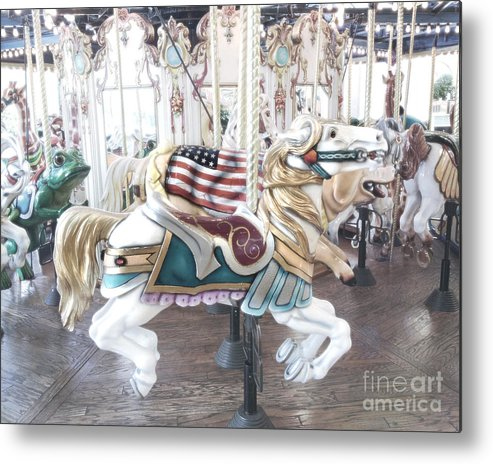 Carnival Art Photos Metal Print featuring the photograph Carousel Merry Go Round Horses - Dreamy Baby Blue Carousel Horses Carnival Ride And American Flag by Kathy Fornal