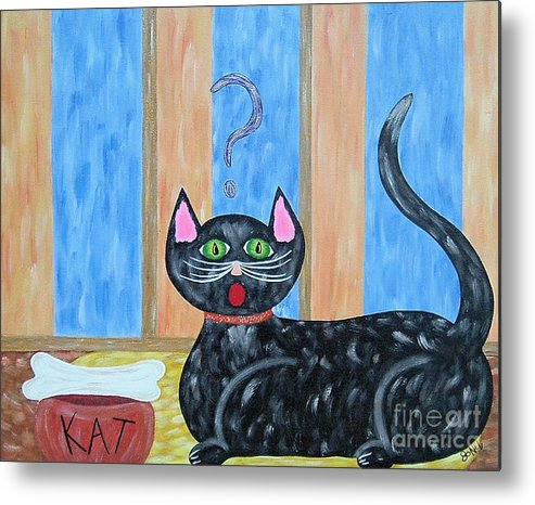 Cat Metal Print featuring the painting Cat And Bone by JoNeL Art