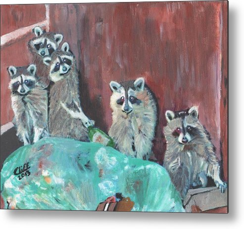 Raccoons Metal Print featuring the painting Caught by Cliff Wilson