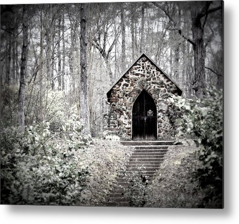 Rock Metal Print featuring the photograph Chapel In The Woods by Pam Garcia