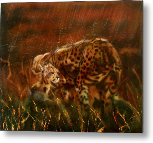 Rain;water;cats;africa;wildlife;animals;mother;shelter;brush;bush Metal Print featuring the painting Cheetah Family After The Rains by Sean Connolly