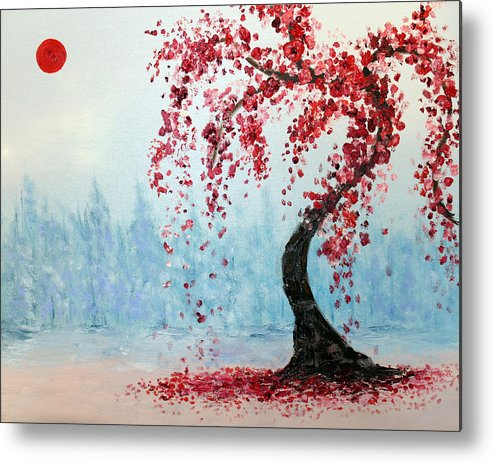 Cherry Metal Print featuring the painting Cherry Blossoms by Rabeh