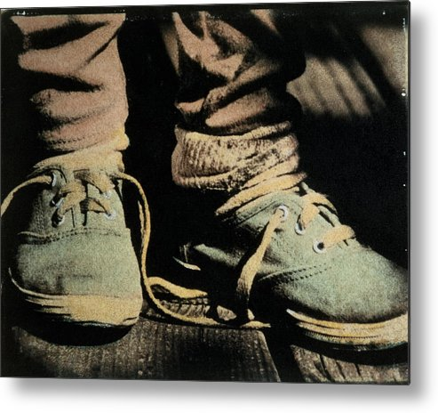 541cac54e32c7 4-5 Years Metal Print featuring the photograph Child Wearing Shoes With  Laces Untied,
