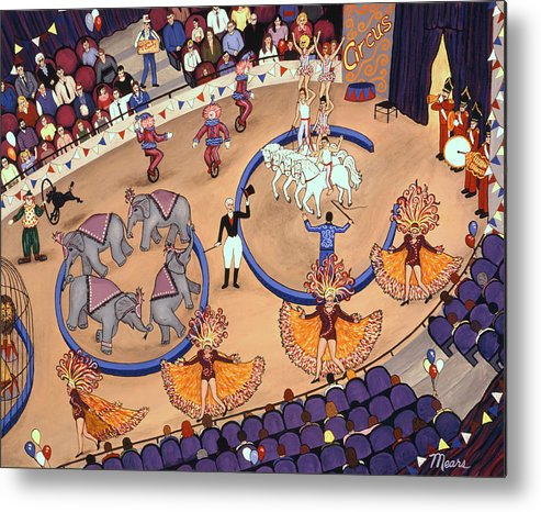 Folk Art Circus Metal Print featuring the painting Circus Ladies by Linda Mears