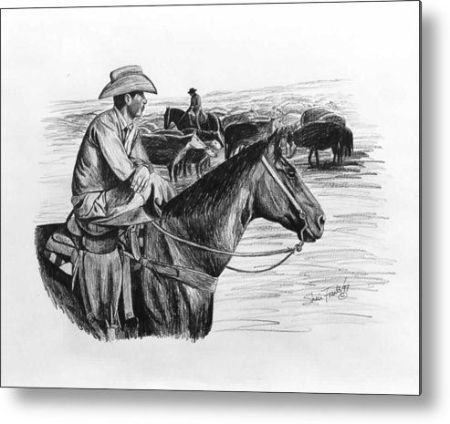 Cowboy On His Horse Metal Print featuring the drawing Cowpoke Taking A Break by Sheri Marean