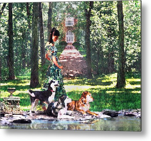 Landscape Metal Print featuring the photograph Dogs Lay At Her Feet by Steve Karol