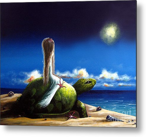 Turtles Metal Print featuring the painting Dreams Before I Awake By Shawna Erback by Erback Art