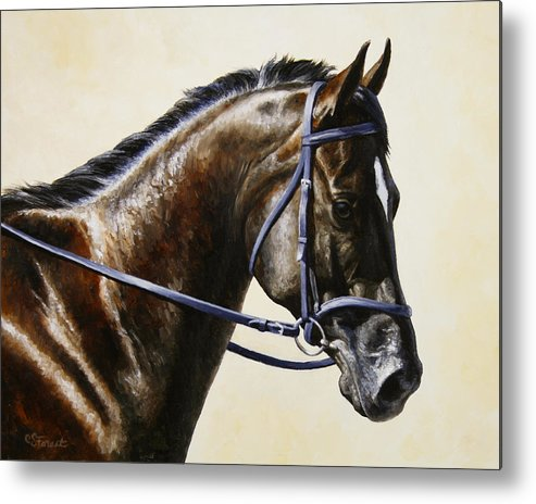 Horse Metal Print featuring the painting Dressage Horse - Concentration by Crista Forest