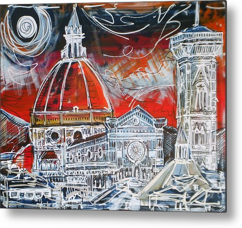 Duomo Metal Print featuring the painting Duomo by Laura Hol Art