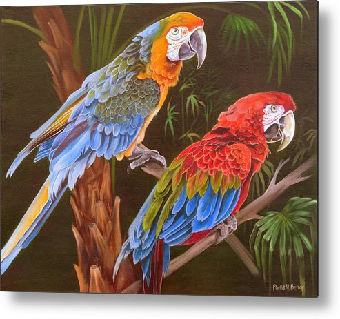 Birds Metal Print featuring the painting Dynamic Duo by Phyllis Beiser