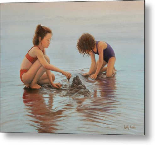Realistic Metal Print featuring the painting Early Morning Architects by Holly Kallie