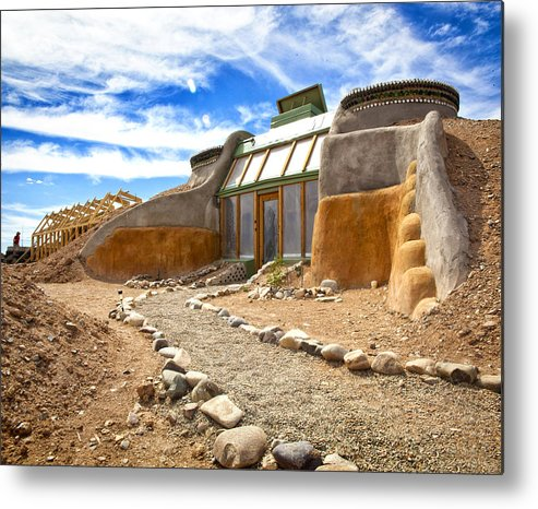 Landscapes Metal Print featuring the photograph Earthship Taos by Shanna Gillette