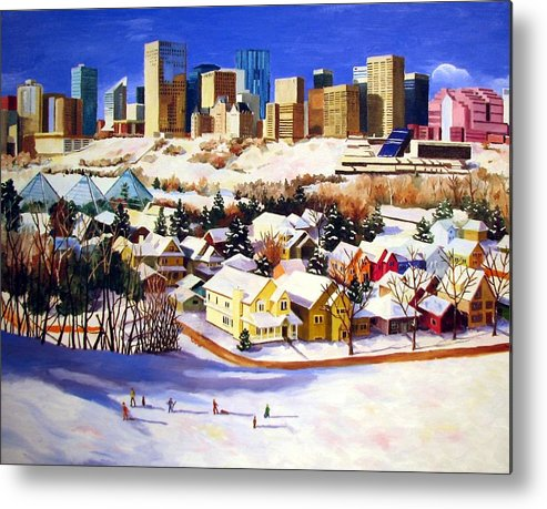 Urbanscape Metal Print featuring the painting Edmonton In Winter by Nel Kwiatkowska