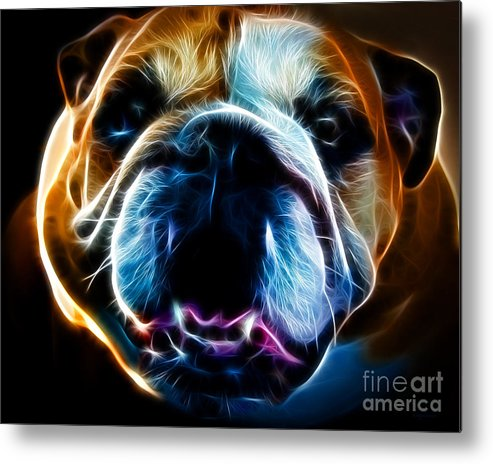 Animal Metal Print featuring the photograph English Bulldog - Electric by Wingsdomain Art and Photography