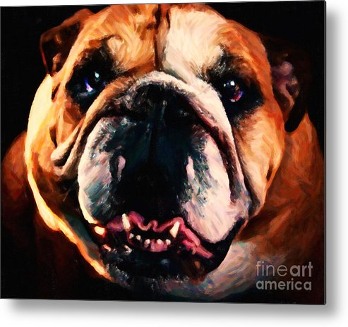 Animal Metal Print featuring the photograph English Bulldog - Painterly by Wingsdomain Art and Photography