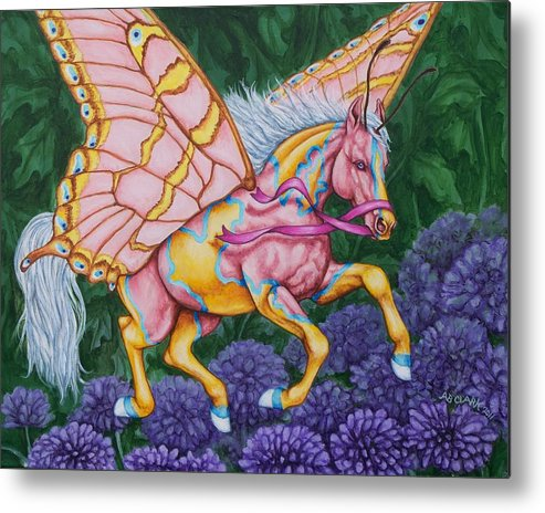 Horses Metal Print featuring the painting Faery Horse Hope by Beth Clark-McDonal