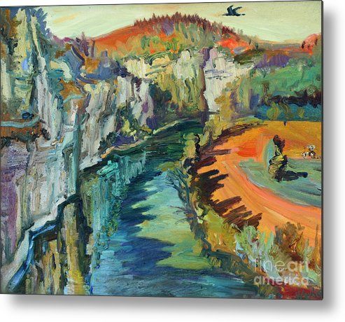 Landscape Metal Print featuring the painting Falaise by Katia Weyher