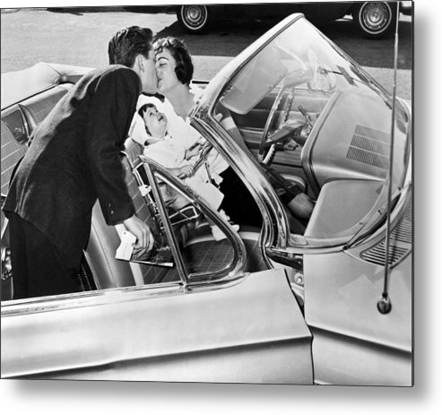 1956 Metal Print featuring the photograph Family Kiss by Underwood Archives