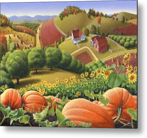 Pumpkin Metal Print featuring the painting Farm Landscape - Autumn Rural Country Pumpkins Folk Art - Appalachian Americana - Fall Pumpkin Patch by Walt Curlee