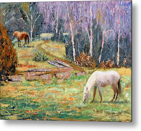 Landscape Metal Print featuring the painting Farm Pleasure by Tommy Thompson