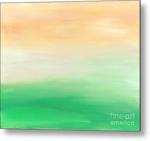 Abstract Metal Print featuring the painting Farmer's Morning - Earth Series by Tracy Evans