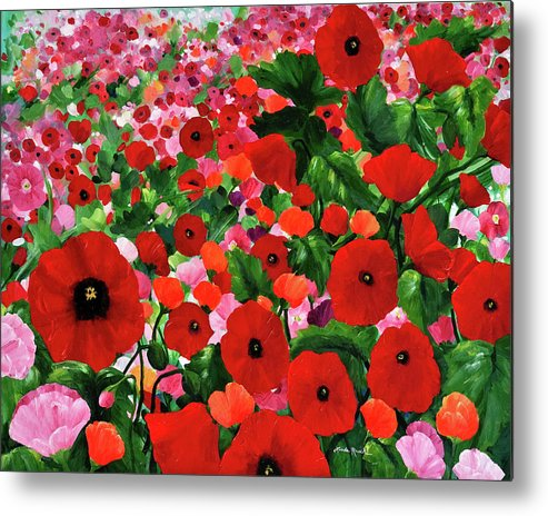 Red Poppies Metal Print featuring the painting Field Of Poppies by Linda Rauch