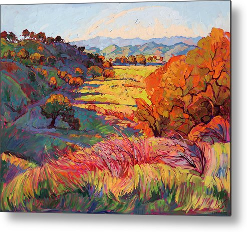 Paso Robles Metal Print featuring the painting Fire Light by Erin Hanson