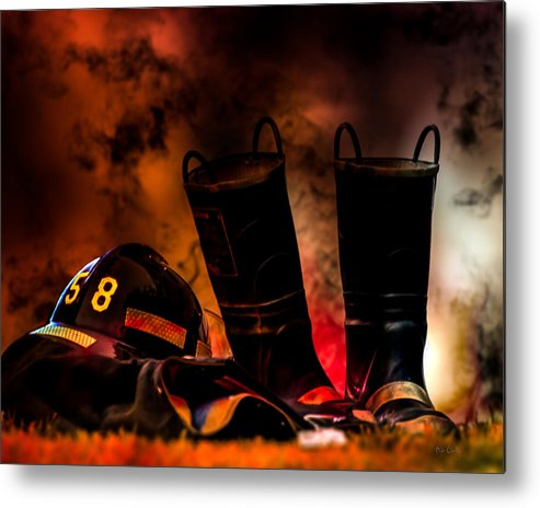 Courage Metal Print featuring the photograph Firefighter by Bob Orsillo