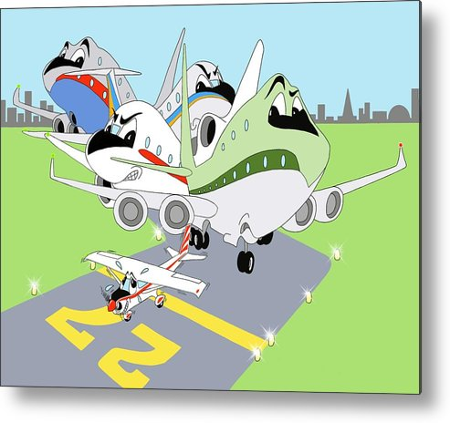 Airline Metal Print featuring the digital art First Flight by Tammy Long