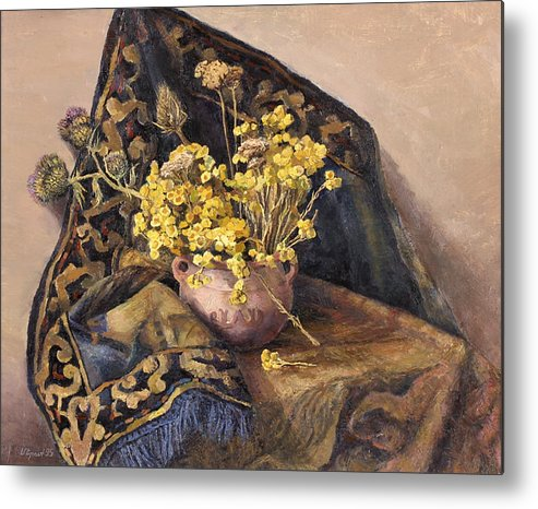 Still Life Metal Print featuring the painting Flowers Immorteles by Meruzhan Khachatryan