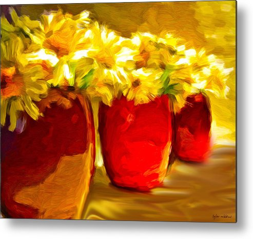 Flowers Metal Print featuring the painting Flowers In A Row by Tyler Robbins