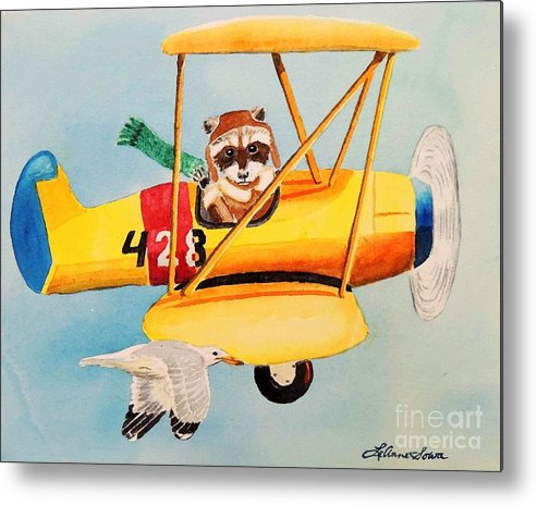 Biplane Metal Print featuring the painting Flying Friends by LeAnne Sowa