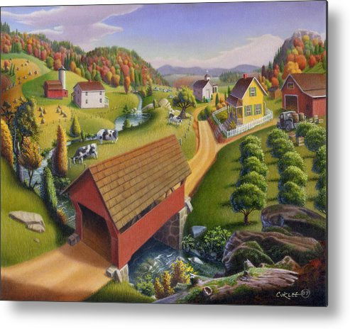 Covered Bridge Metal Print featuring the painting Folk Art Covered Bridge Appalachian Country Farm Summer Landscape - Appalachia - Rural Americana by Walt Curlee