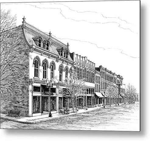 Pen And Ink Drawing Metal Print featuring the drawing Franklin Main Street by Janet King