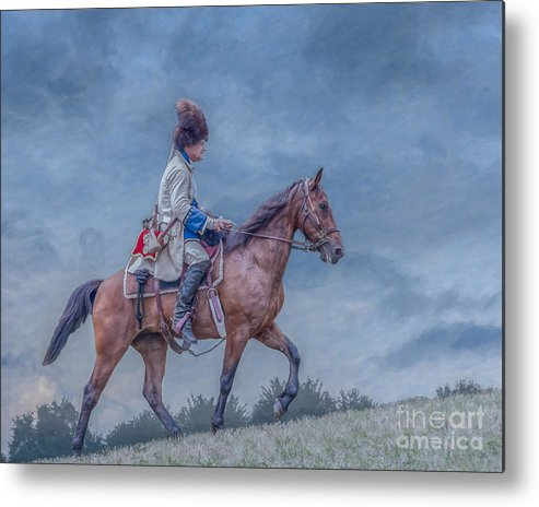 French Officer On Horse Metal Print featuring the digital art French Officer On Horse Grand Encampment by Randy Steele