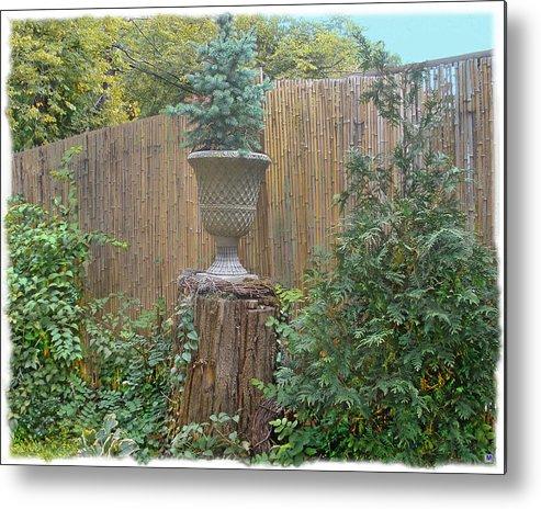 Bamboo Fence Metal Print featuring the photograph Garden Decor 2 by Muriel Levison Goodwin