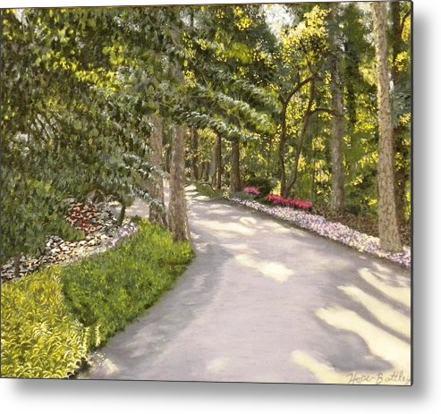 Landscape Metal Print featuring the painting Garvan Garden Path by Gwendolyn Hope-Battley