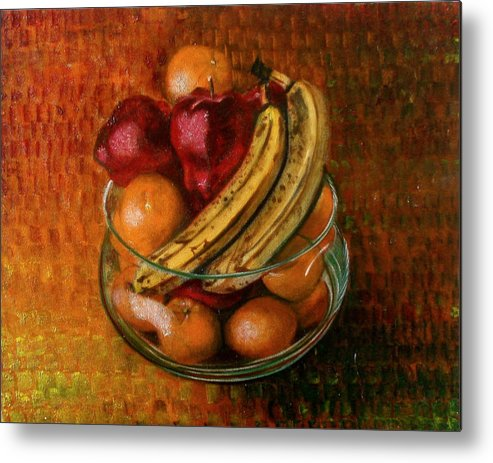 Still Life Metal Print featuring the painting Glass Bowl Of Fruit by Sean Connolly