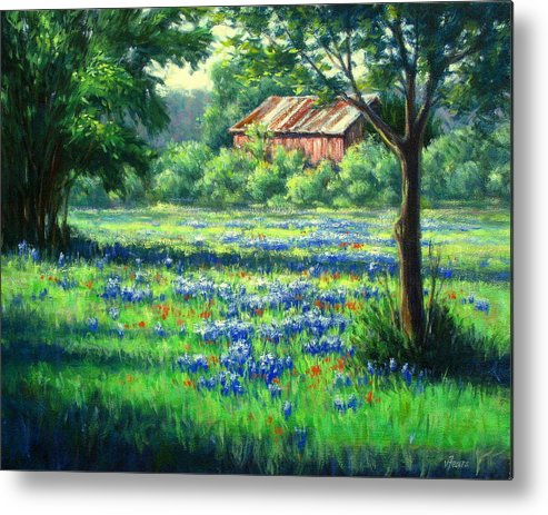 Vickie Fears Metal Print featuring the painting Glen Rose Bluebonnets by Vickie Fears