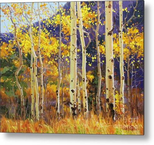 Aspen Trees Birch Trees Gary Kim Oil Print Art Print Woods Fall Trees Autumn Season Panorama Sunset Beautiful Beauty Yellow Red Orange Fall Leaves Foliage Autumn Leaf Color Mountain Oil Painting Original Art Horizontal Landscape National Park America Morning Nature Wallpaper Outdoor Panoramic Peaceful Scenic Sky Sun Time Travel Vacation View Season Bright Autumn National Park South America Clouds Cloudy Landscape Mist Misty Natural Peak Peaks New Painting Oil Original Vibrant Texture Reflections Metal Print featuring the painting Golden Aspen W. Mystical Purple by Gary Kim
