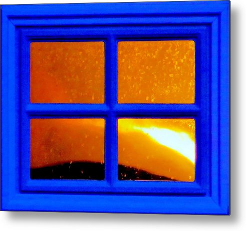 Reflection Metal Print featuring the photograph Golden Panes by Forrest Munger