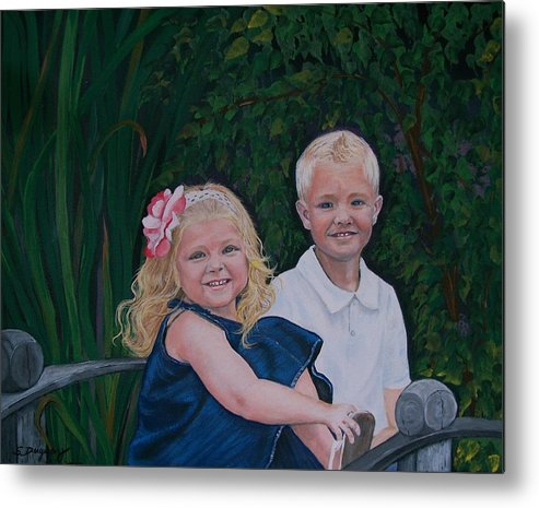 Figurative Metal Print featuring the painting Grampa And Gramma's Joy by Sharon Duguay